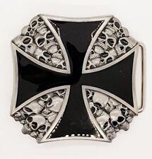 Iron Cross Skull Belt Buckle Biker Metal Gothic Maltese Tattoo Skeleton Alchemy