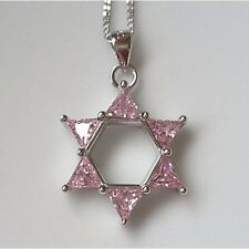 925 Sterling Silver Pink Cubic Zirconia Star Of David Pendant Chain Necklace UK