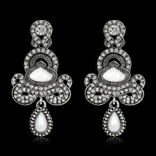 Rhodium Plated Woman Bridal Earring Oil Painting Raindrop Antique Rhinestone