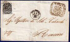 1852 - Lettera per Rimini resa franca con 6 baj grigio (Sassone n.7a)