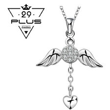 Unique Design 925 Sterling Silver Filled Crystal Angel Wings Pendant Necklace