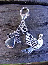 Tibetan Silver Guardian Angel & Dove Clip on Charms Bracelets/Necklaces etc.