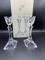 """St George Crystal Tulip Collection Fine Lead Crystal Candle Holders 8"""" Tall"""