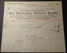 1890 Letterhead Rossendale.Division Gazette, Victoria Buildings Bacup Rossendale