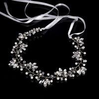 Bridal Clear Crystal Rhinestone Headband Pearl Hair Band Wedding Accessories
