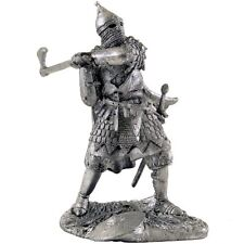 Russian warrior with axe. Tin toy soldier 54mm miniature statue. metal sculpture