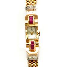 WOMENS 18K PINK GOLD DIAMOND AND SYNTHETIC RUBY RETRO BRACELET WATCH