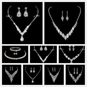 Pearl Crystal Bridesmaid Party Jewellery Set Wedding Necklace Bracelet Earrings