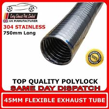 "44,45 (1 "" 3/4) T304 Inossidabile Scarico Flessibile Polylock TUBI -- 750 mm / 3/4 metri"