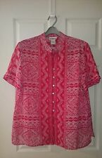 MILLERS – Sz20 RED with WHITE SEMI-SHEER BLOUSE / TOP