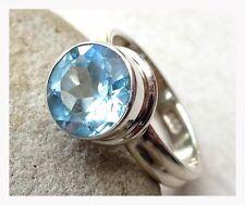 925 Sterling Silver BLUE TOPAZ Semi Precious GEMSTONE RING SIZE P 1/2 - US 8