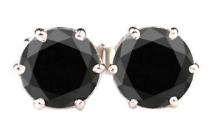 2.00Ct Round Shape Natural Earthmined Black Diamond Solitaire Studs In 14KT Gold