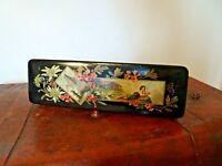 Antique 19th C Victorian Black Lacquered Oriental Design Papier Mache Glove Box