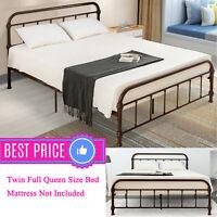 Twin/Full/Queen Vintage Antique Metal Bed Frame Platform w/Headboard & Footboard