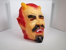 Vintage Creepy Halloween Devil Satan Mask Rubber Latex Horns Red