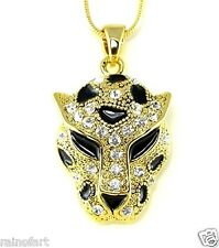 Jaguar Cheetah Tiger Leopard W Swarovski Crystal Gold Finish Pendant Necklace