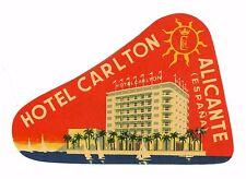 Vintage Hotel Luggage Label HOTEL CARLTON Alicante Spain