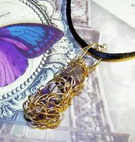 STUNNING HAND-CRAFTED GOLD-WIRE-WRAPPED SUGILITE PENDANT  1-3/4 INCHES