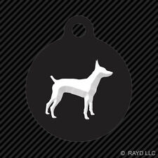 Rat Terrier Keychain Round with Tab dog engraved many colors dog canine pet