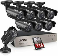 ZOSI HD 1080P 8CH DVR 24 IR Night LED IR Cut Outdoor CCTV Security Camera System