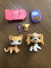 Littlest Pet Shop Lps Authentic Spaniel Dog #79 Shorthair Cat #71 w/accessories