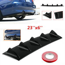 23'' x6'' Gloss Black Universal Car Lower Rear Bumper Lip Diffuser Spoiler 5 Fin