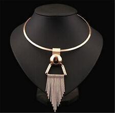 UK Fashion Jewelry Gold Snake Chain Chunky Choker Statement Pendant Bib Necklace
