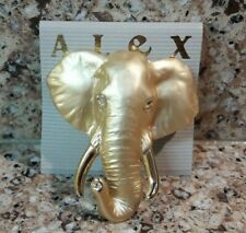 Alex Gold Tone Bull Elephant Elephants Brooch Pin