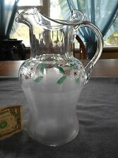 Victorian Blown Glass Satinized Base Hand Painted Floral Pattern Milk Pitcher