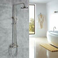 Bathtub Shower Faucet Set Wall Mount Shower Rod Kits Brushed Nickel Round Head