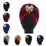 Women Ladies Muslim Velvet Turban Bowknot Headwear  Pleated Hijab India Cap Hat