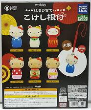 Sanrio Hello Kitty Kokeshi Netsuke Wooden Figure, 6pcs + Display Card - Takara