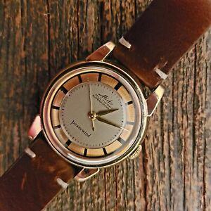 1950s Jumbo 43mm x 36mm automatic vintage watch, Very rare Mido, Pie pan 917R