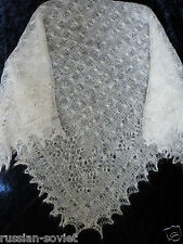 Genuine Russian Orenburg Handknitted Wool Lace Shawl Scarf Snow Frost Design