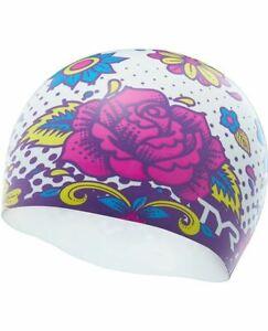 Tyr Silicone Flower Power Swim Cap  White