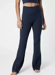 New! Athleta Studio Flare Pant In Powervita Navy Size Large Tall #487596