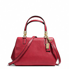 NWT Coach Madison Leather Mini Satchel Purse Light Gold Scarlet Red F49720
