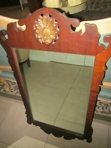 Vintage Colonial Shaving  mirror Mahogany   Carved  wood frame Shipping  Extra