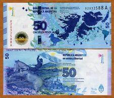 Argentina 50 Pesos 2015, P-New A-Serie UNC > Malvinas Islands (Falklands) commem