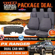 TUFF HD CANVAS FORD PX RANGER Dual Cab Seat Covers 2ROWs + DASH MAT 2011-5/2015