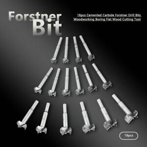 16Pcs Forstner Woodworking Drill Bit Set Boring Hole Saw Cutter Wood Tools New