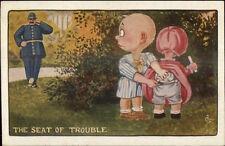 C. Ryan Comic - Babies & Police Officer Cop A-102 c1910 Postcard gfz