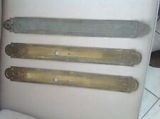 3 Large Antique French Brass Door Finger Plates,1 Pair + 1 odd