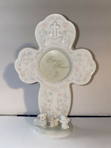 """Russ Baby Porcelain Cross Picture Frame Baptism Newborn """"Gifts From Heaven"""""""