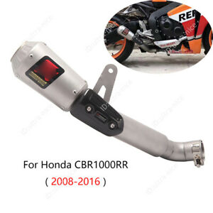 For Honda CBR 1000 RR2008-2016 Exhaust Tips Motorcycle 47mm Muffler Pipe + Guard