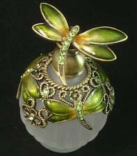 Dragonfly Perfume Essential Oil Frosted Glass Green Gold Crystal Jeweled Bottle