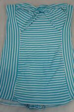 Coco Rave One Piece Swim Dress Sz S 32D Aqua Blue White Striped Swimwear Swimsui