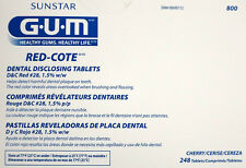 Sunstar GUM Red-Cote Disclosing Plaque Tablets-Cherry Flavor-Box of 248