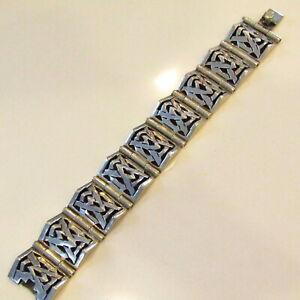 Vintage Sterling Silver Panel Bracelet MEXICO 925 Southwestern 89.5 Grams