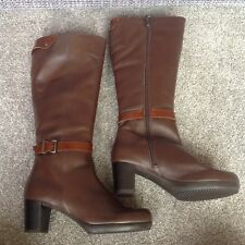Riva Brown Leather Knee High Boots UK4